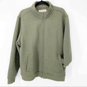 Tommy Bahama Olive Green Quilted Zip Up Jacket